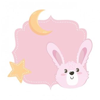 Kreskówka królik na białym tle
