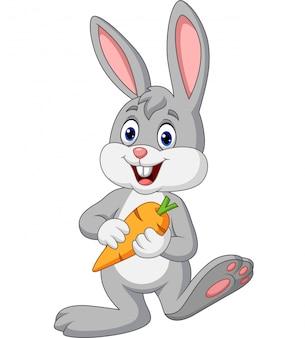 Kreskówka królik trzyma marchewki