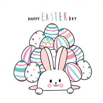 Kreskówka królik wielkanocny ładny i kolorowe jajka.