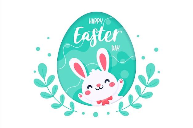 Kreskówka królik z długimi uszami szczęśliwy skakanie na zielonej łące na wiosnę pisanka.