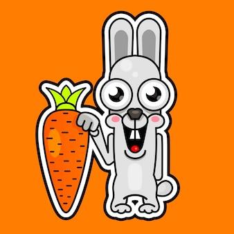 Kreskówka królik z pomarańczową marchewką, uśmiechając się. ilustracja wektorowa
