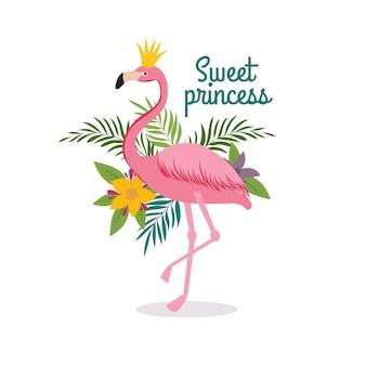 Kreskówka królowej czerwonak flamingo z koroną.