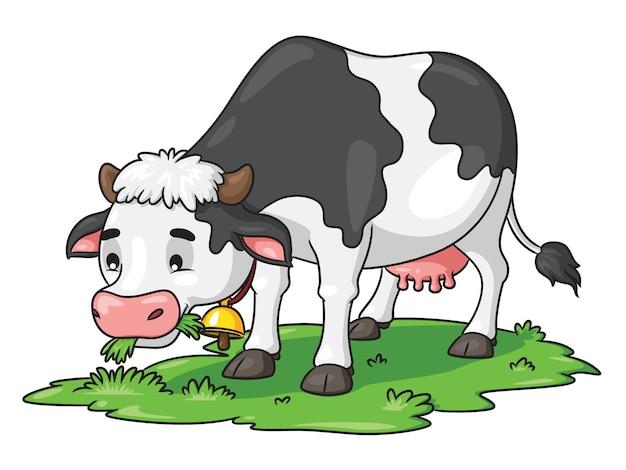 Kreskówka krowa jedzenia trawy