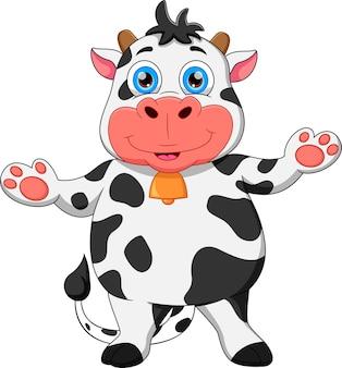 Kreskówka krowa macha i uśmiecha się