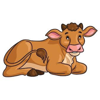 Kreskówka krowa siedzieć