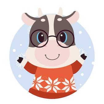 Kreskówka krowa z boże narodzenie sweter