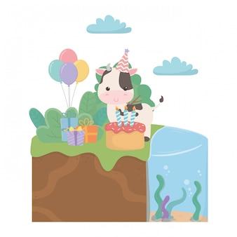 Kreskówka krowa z okazji urodzin