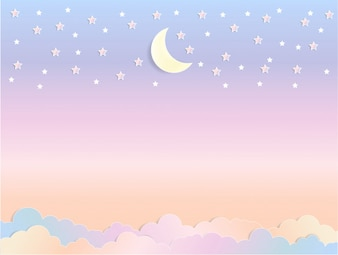 Kreskówka księżyc niebo z puszyste chmury w pastelowych kolorach