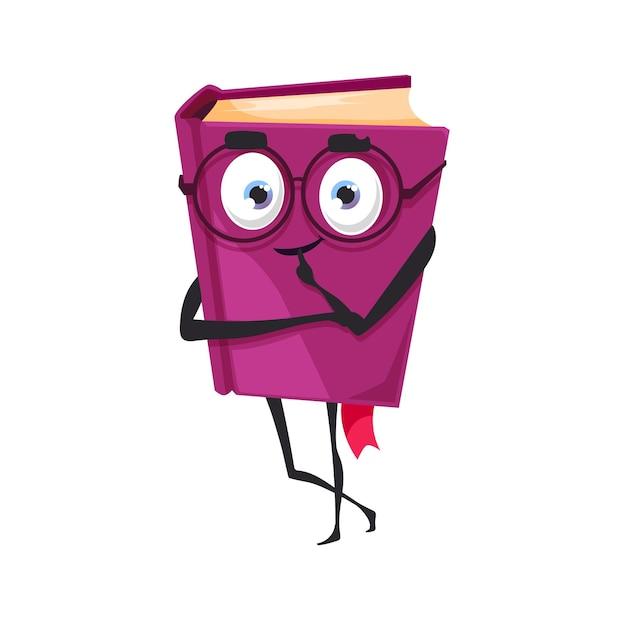 Kreskówka książka w fioletowej twardej oprawie na białym tle podręcznik dla dzieci z mól książkowy emotikon. wektor powieść lub czasopismo, pamiętnik lub broszura zeszyt symbol edukacji i informacji, uczenia się i studiowania