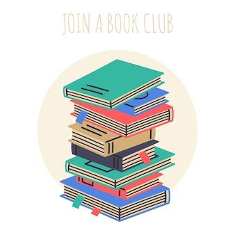 Kreskówka książki stos podręczników do czytania i edukacji wektor koncepcja