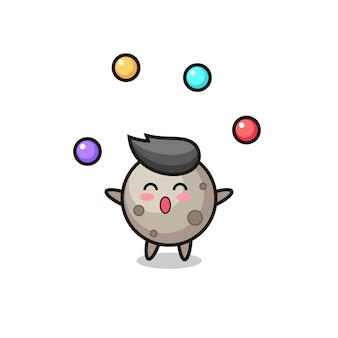 Kreskówka księżycowy cyrk żonglujący piłką, ładny styl na koszulkę, naklejkę, element logo