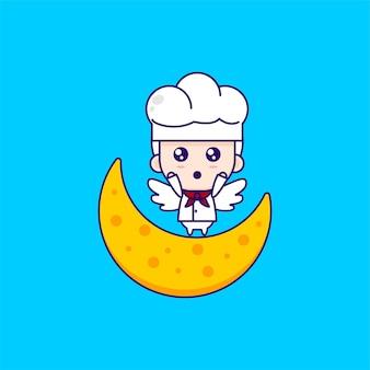 Kreskówka kucharz ilustracja chibi wektor wzór