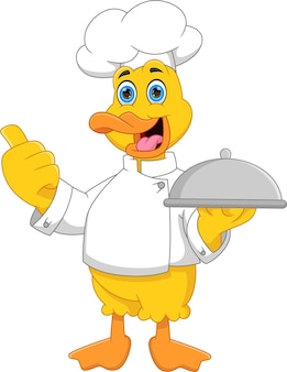 Kreskówka kucharz kaczka niosąca tacę z jedzeniem i podająca kciuki w górę