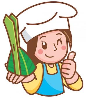 Kreskówka kucharz kobieta prezentuje deser