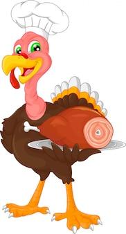 Kreskówka kucharz ładny ptak turcja