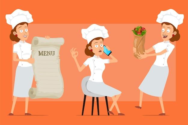 Kreskówka kucharz płaski kucharz kobieta postać w białym mundurze i kapeluszu piekarza. dziewczyna rozmawia przez telefon, trzymając menu i smaczny kebab shawarma.