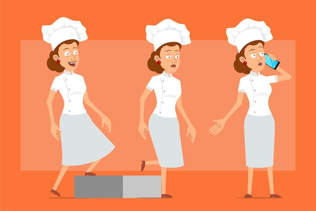 Kreskówka kucharz płaski kucharz kobieta postać w białym mundurze i kapeluszu piekarza. pomyślna zmęczona dziewczyna idzie do celu i rozmawia przez telefon.