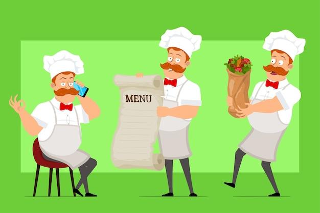 Kreskówka kucharz śmieszne kucharz postać człowieka w biały mundur i kapelusz piekarza