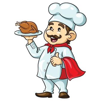 Kreskówka kucharz z pieczonym kurczakiem