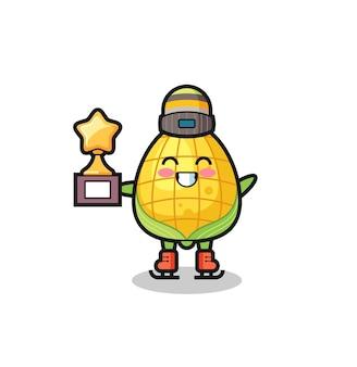 Kreskówka kukurydziana jako gracz na łyżwach trzyma trofeum zwycięzcy, ładny styl na koszulkę, naklejkę, element logo