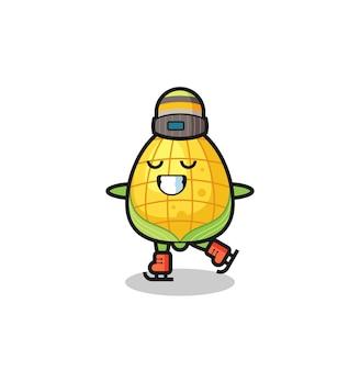 Kreskówka kukurydziana jako łyżwiarz wykonujący, ładny styl na koszulkę, naklejkę, element logo