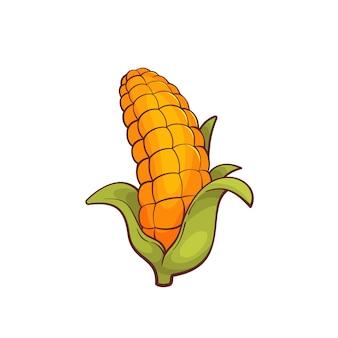 Kreskówka kukurydziany na białym tle