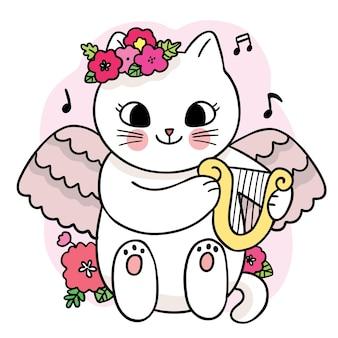 Kreskówka ładny biały kot i kwiat i motyl i pszczoła wektor