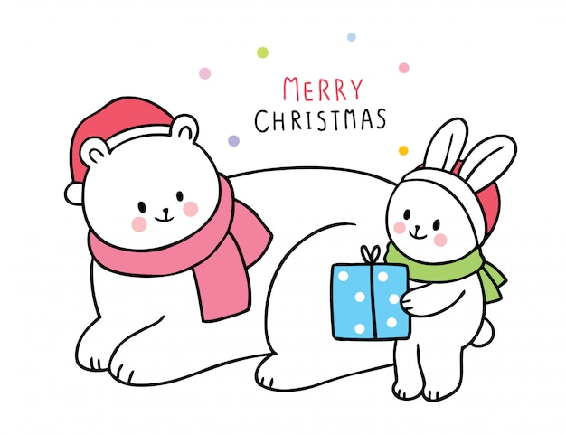 Kreskówka ładny boże narodzenie miś polarny i królik i prezent