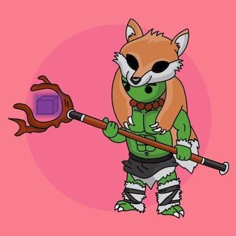 Kreskówka ładny chibi duży zielony rycerz w stroju lisa i młotku