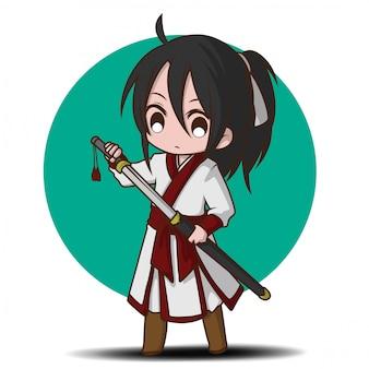 Kreskówka ładny chłopiec w stroju chińskiego mistrza bitwy.