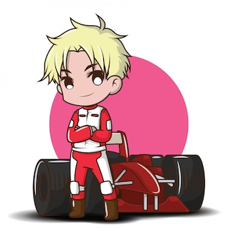 Kreskówka ładny chłopiec w stroju wyścigowym.