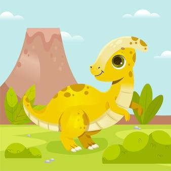 Kreskówka ładny dinozaur dziecka