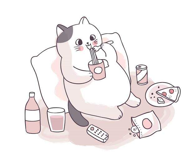 Kreskówka ładny duży kot jedzenie makaron i jedzenie