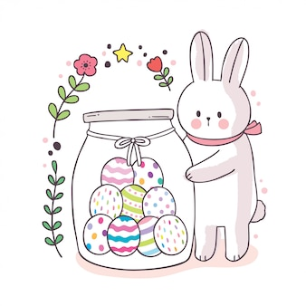 Kreskówka ładny dzień wielkanocny, biały królik i słodkie jajko w słoiku