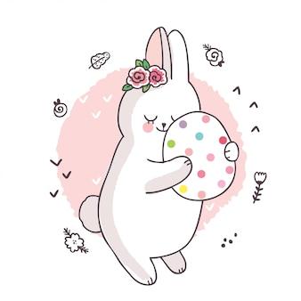 Kreskówka ładny dzień wielkanocny, biały królik i słodkie jajko