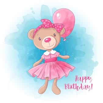 Kreskówka ładny dziewczyna niedźwiedź z balonem. kartka urodzinowa.