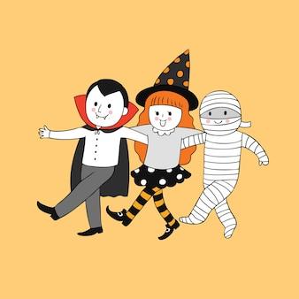 Kreskówka ładny halloween czarownica i mumia i dracula wektor.