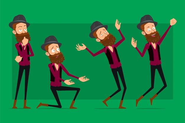 Kreskówka ładny hipster chłopiec postać duży wektor zestaw