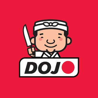 Kreskówka ładny japoński szef kuchni z ręcznikiem na głowie trzymającym ostry nóż