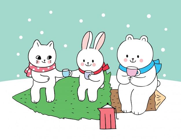 Kreskówka ładny kot boże narodzenie i królik i besr polarny pić kawę na choinkę.