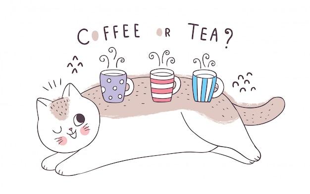 Kreskówka ładny kot i filiżanki kawy i herbaty