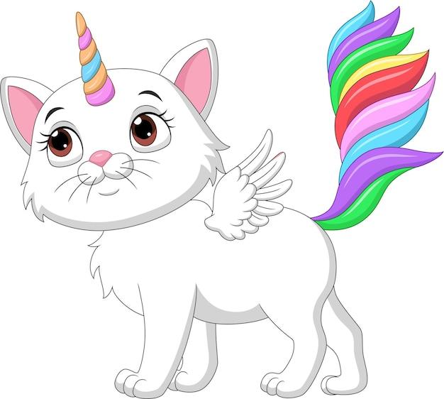 Kreskówka ładny kot jednorożca ze skrzydłami