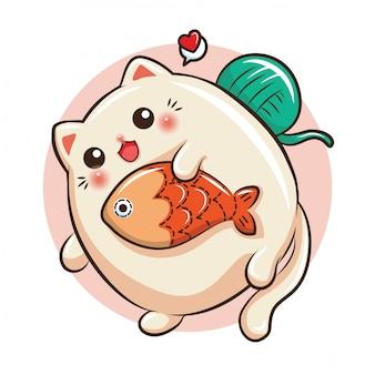 Kreskówka ładny kot. koncepcja sklepu zoologicznego.