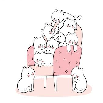 Kreskówka ładny kotów gry na krześle