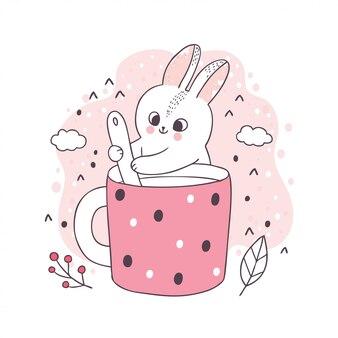Kreskówka ładny królik i filiżanka kawy