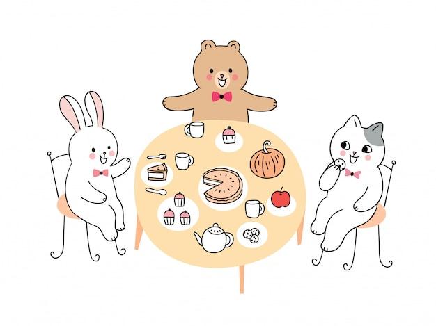 Kreskówka ładny królik i niedźwiedź i kot pije herbatę.