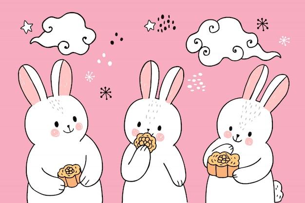 Kreskówka ładny królik jesień w połowie jedzenia