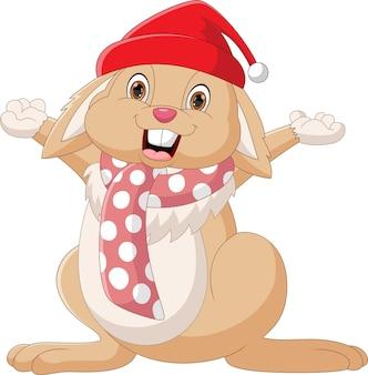 Kreskówka ładny królik macha na białym tle