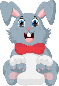 Kreskówka ładny królik na białym tle