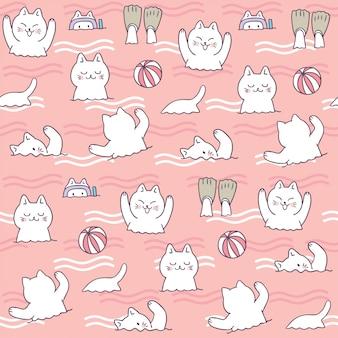 Kreskówka ładny lato kot pływanie wektor.